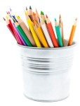 Color pencils in pencil holders isolated on white background, school supplies closeup